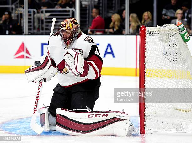Mike Smith of the Arizona Coyotes makes a save during the second period against the Los Angeles Kings at Staples Center on November 10 2015 in Los...