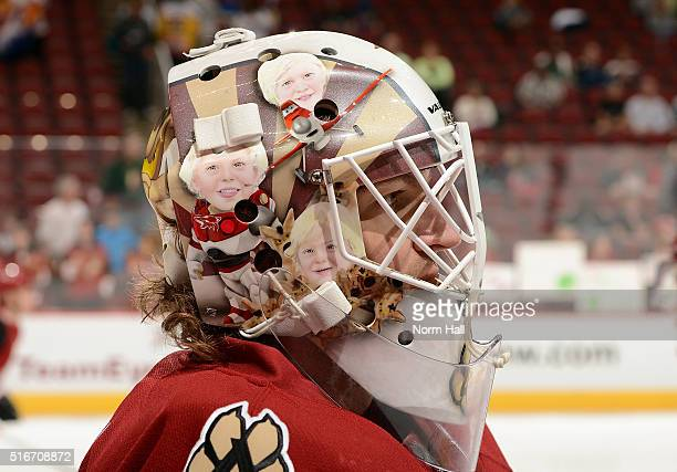 Mike Smith of the Arizona Coyotes prepares for a game against the San Jose Sharks at Gila River Arena on March 17 2016 in Glendale Arizona