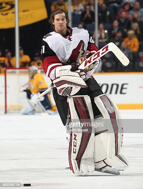 Mike Smith of the Arizona Coyotes skates to the net against the Nashville Predators during an NHL game at Bridgestone Arena on December 1 2015 in...