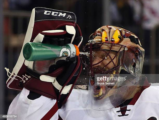 Mike Smith of the Arizona Coyotes takes a water break during the second period against the New York Rangers at Madison Square Garden on October 22...