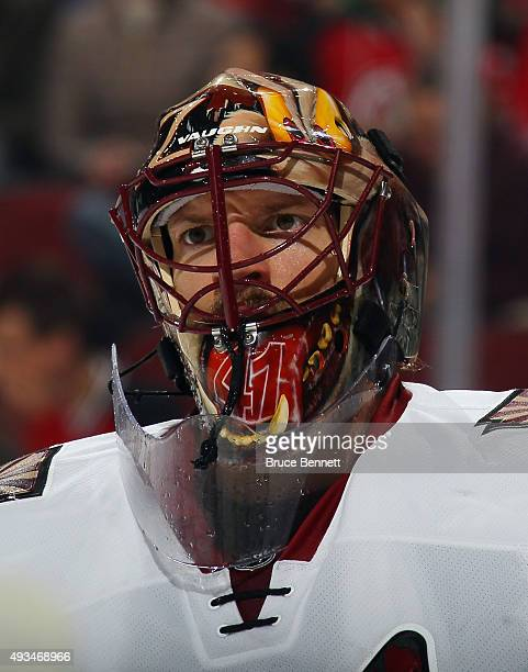Mike Smith of the Arizona Coyotes tends net against the New Jersey Devils at the Prudential Center on October 20 2015 in Newark New Jersey