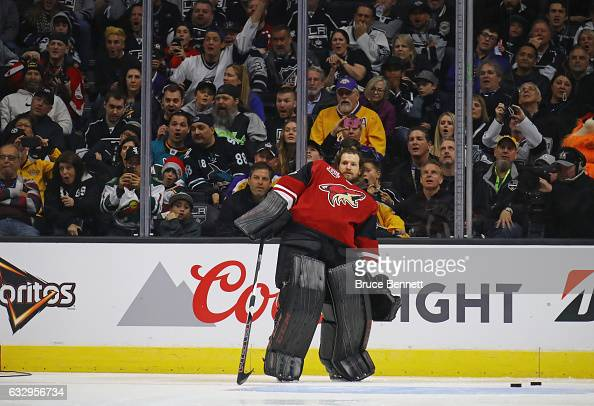 Mike Smith of the Arizona Coyotes uses a little body English on his winning shot during the Honda NHL Four Line Challenge as part of the 2017 Coors...