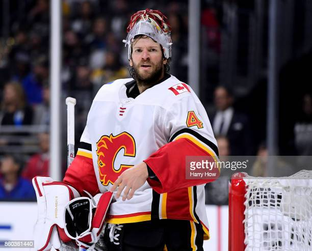 Mike Smith of the Calgary Flames argues his penalty during the second period against the Los Angeles Kings at Staples Center on October 11 2017 in...