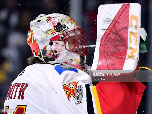 Mike Smith of the Calgary Flames cools down during the game against the Los Angeles Kings at Staples Center on October 11 2017 in Los Angeles...
