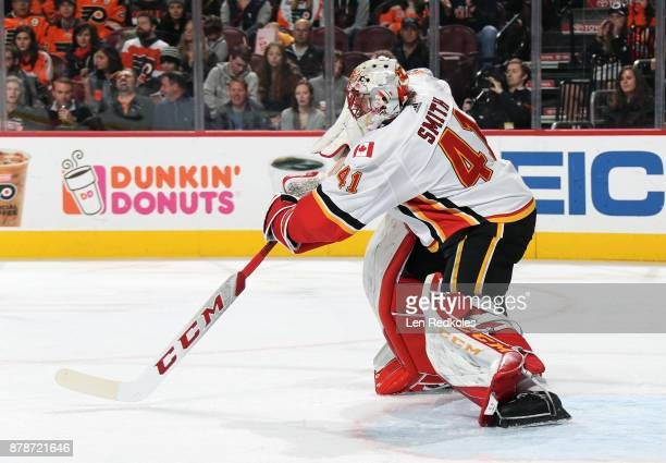 Mike Smith of the Calgary Flames in action against the Philadelphia Flyers on November 18 2017 at the Wells Fargo Center in Philadelphia Pennsylvania