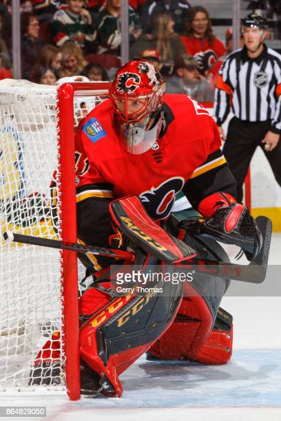 Mike Smith of the Calgary Flames in an NHL game against the Minnesota Wild at the Scotiabank Saddledome on October 21 2017 in Calgary Alberta Canada