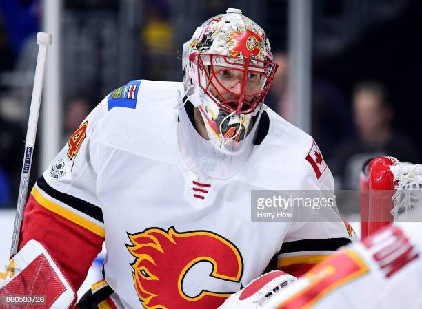 Mike Smith of the Calgary Flames in goal against the Los Angeles Kings at Staples Center on October 11 2017 in Los Angeles California