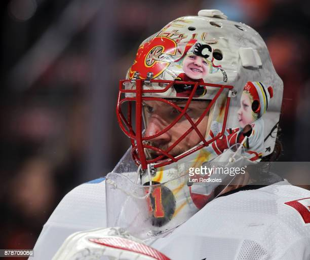 Mike Smith of the Calgary Flames looks on against the Philadelphia Flyers on November 18 2017 at the Wells Fargo Center in Philadelphia Pennsylvania