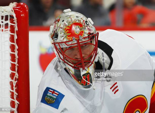 Mike Smith of the Calgary Flames skates against the Philadelphia Flyers at the Wells Fargo Center on November 18 2017 in Philadelphia Pennsylvania...