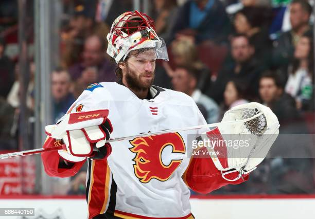 Mike Smith of the Calgary Flames skates up ice during their NHL game against the Vancouver Canucks at Rogers Arena October 14 2017 in Vancouver...