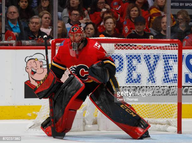 Mike Smith of the Calgary Flames stands tall in net against the Pittsburg Penguins at Scotiabank Saddledome on November 2 2017 in Calgary Alberta...
