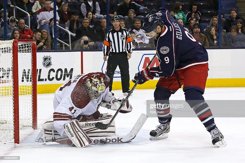 Mike Smith #41 of the Phoenix Coyotes stops a shot from Colton Gillies #9 of the Columbus Blue Jackets during the second period on March 16, 2013 at Nationwide Arena in Columbus, Ohio.