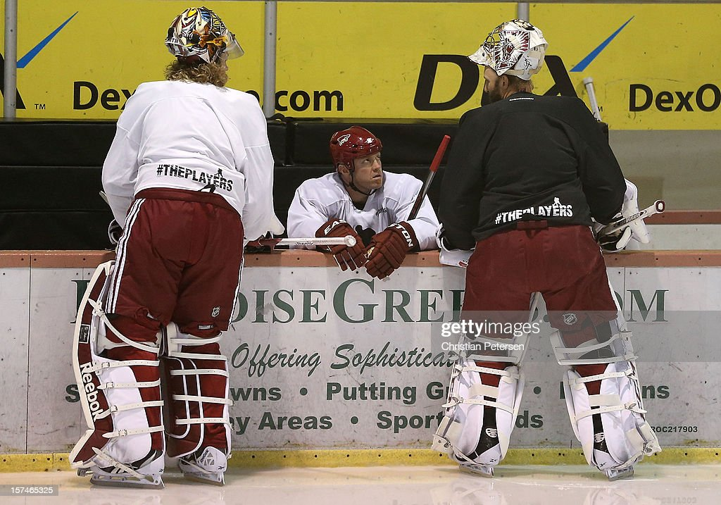 Mike Smith #41, Raffi Torres #37 and Jason LaBarbera #1 of the Phoenix Coyotes participate in a workout at the Ice Den on December 3, 2012 in Scottsdale, Arizona. More than a dozen players from around the league that are not able to play during the NHL lockout have been attending workouts at the Phoenix Coyotes practice rink.