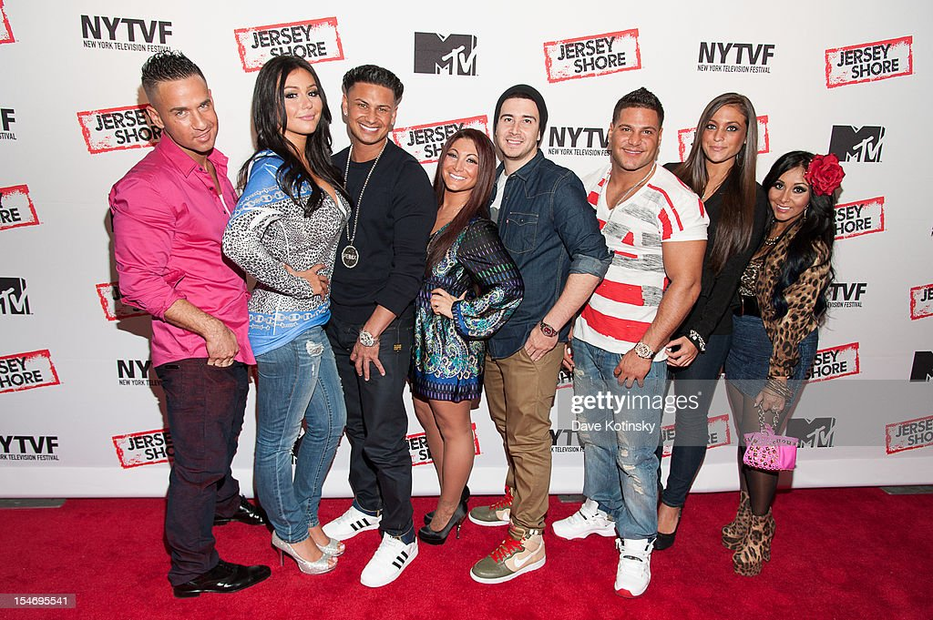 Mike Sorrentino, Jenni Farley, Paul 'Pauly D' DelVecchio , Deena Cortese, Vinny Guadagnino, Ronnie Magro, Sammy Giancola and Nicole Polizzi attends 'Love, Loss, (Gym, Tan) and Laundry: A Farewell To The Jersey Shore' during the 2012 New York Television Festival at 92Y Tribeca on October 24, 2012 in New York City.