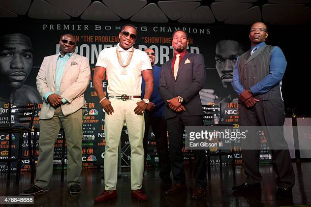 Mike Stafford Boxer Adrien Broner Boxer Shawn Porter and Kenny Porter pose for a photo at the Los Angeles Press Conference to discuss their June 20th...