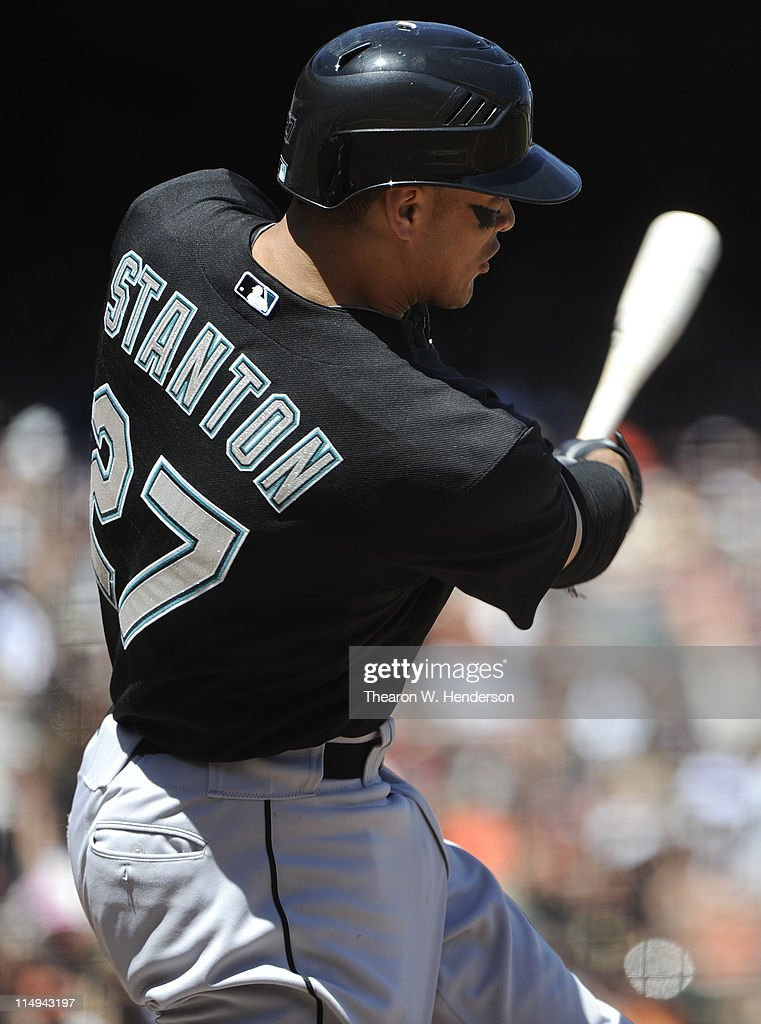 Mike Stanton #27 of the Florida Marlins bats against the San Francisco Giants during a MLB baseball game at AT&T Park May 26, 2011 in San Francisco, California. The Marlins won the game 1-0.