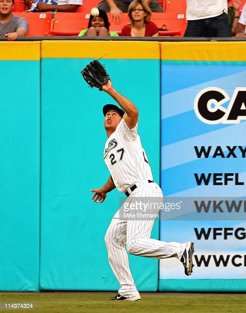 Mike Stanton of the Florida Marlins makes a catch during a game against the Chicago Cubs at Sun Life Stadium on May 18 2011 in Miami Gardens Florida