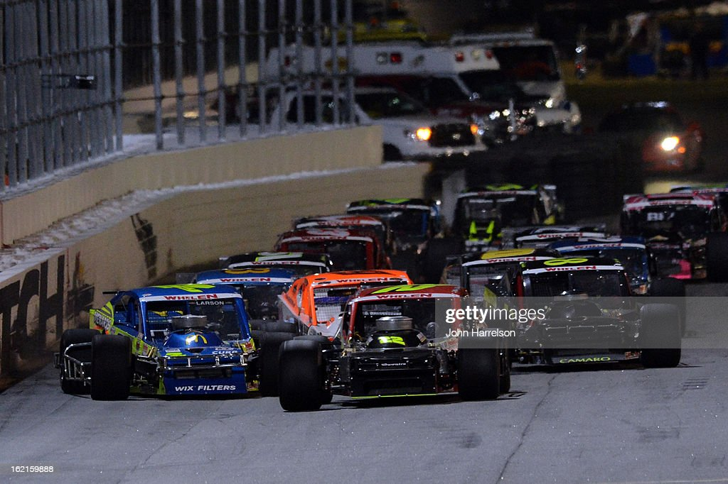 Mike Stefanik, driver of the #22 Robert B Our Co./Canto & Sons Paving Chevrolet, and <a gi-track='captionPersonalityLinkClicked' href=/galleries/search?phrase=Kyle+Larson+-+Race+Car+Driver&family=editorial&specificpeople=2115989 ng-click='$event.stopPropagation()'>Kyle Larson</a>, driver of the #7 Menards/McDonald's/Curb Records Chevrolet, race during the Whelen Modified Series UNOH Battle At The Beach at Daytona International Speedway on February 19, 2013 in Daytona Beach, Florida.
