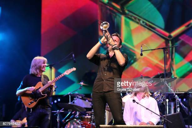 Mike Stern Till Broenner and Leslie Mandoki with Man Doki Soulmates perform during the Sziget Festival at Budapest Park on August 8 2017 in Budapest...