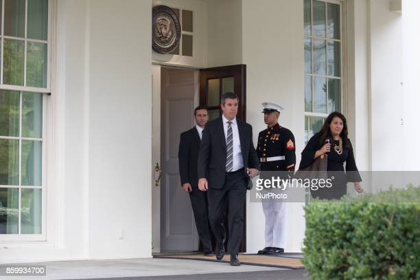 Mike Sullivan Head coach of the 2017 Stanley Cup Champion Pittsburgh Penguins walks out of the West Wing of the White House to speak to reporters on...