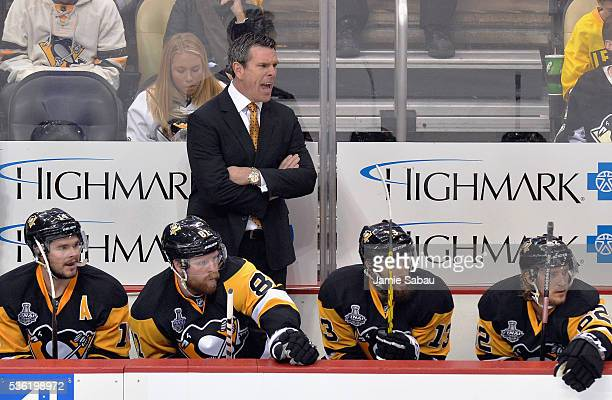 Mike Sullivan of the Pittsburgh Penguins looks on against the San Jose Sharks in Game One of the 2016 NHL Stanley Cup Final at Consol Energy Center...