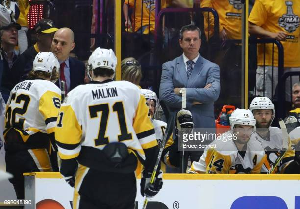 Mike Sullivan of the Pittsburgh Penguins looks on against the Nashville Predators during the third period in Game Three of the 2017 NHL Stanley Cup...