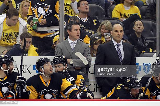 Mike Sullivan of the Pittsburgh Penguins looks on from the bench against the Tampa Bay Lightning in Game Two of the Eastern Conference Final during...