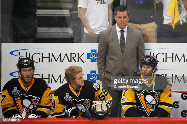 Mike Sullivan of the Pittsburgh Penguins looks on prior to Game One of the 2017 NHL Stanley Cup Final against the Nashville Predators at PPG Paints...