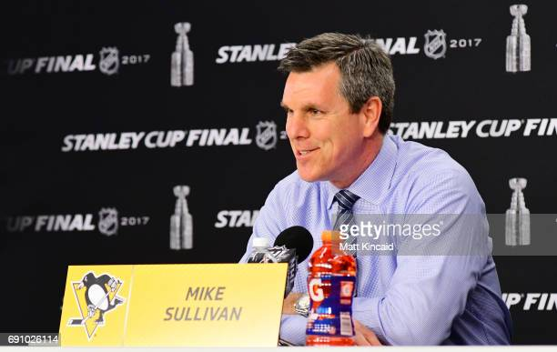 Mike Sullivan of the Pittsburgh Penguins speaks during a press conference after Game Two of the 2017 NHL Stanley Cup Final at PPG Paints Arena on May...
