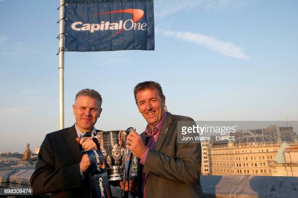 Mike Summers of Prostate Cancer UK with former player Matt Le Tissier hold the Capital One Cup at a Football League event at the Vista at the...