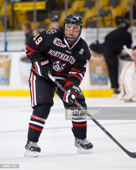 Mike Szmatula of the Northeastern University Huskies warms up before NCAA hockey action against the Harvard Crimson in the semifinals of the annual...