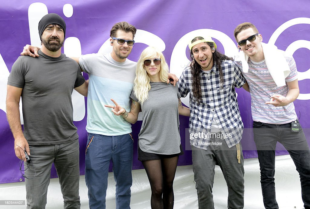 Mike Tayler, Ryan Marshall, Sarah Blackwood, Gianni Luminati, and Joel Cassady of Walk Off the Earth pose at 97.3 Alice Now and Zen in Sharon Meadow in Golden Gate Park on September 29, 2013 in San Francisco, California.