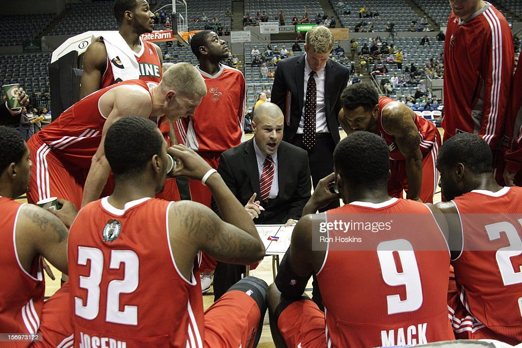 Mike Taylor, head coach of the Maine Red Claws during a timeout as the Red Claws took on the Fort Wayne Mad Ants at Allen County Memorial Coliseum on November 25, 2010 in Fort Wayne, Indiana.
