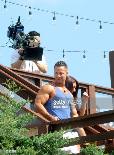 Mike 'The Situation' Sorrentino and Deena Nicole Cortese arrives with the cast of 'Jersey Shore' on May 31 2012 in Seaside Heights New Jersey