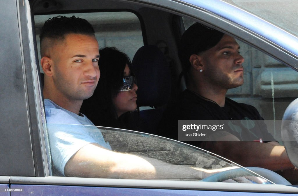Mike 'The Situation' Sorrentino and Ronnie OrtizMagro of the reality TV show 'Jersey Shore' are seen with Nicole Polizzi after their fight on May 26...