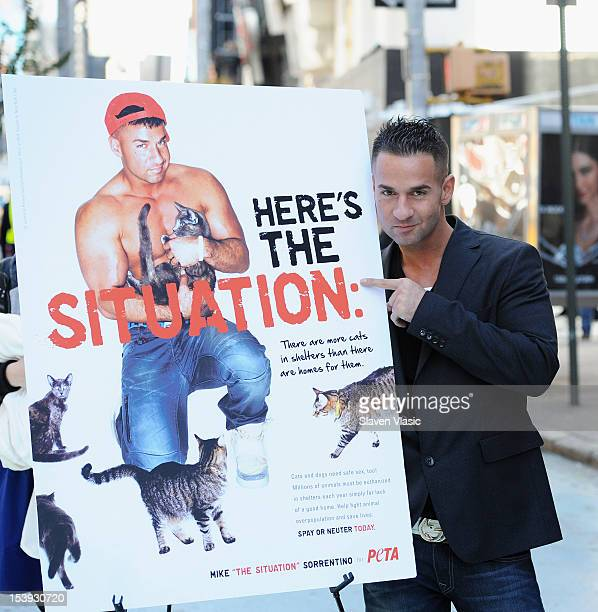 Mike 'The Situation' Sorrentino attends the unveiling his PETA Ad campaign on October 11 2012 in New York United States
