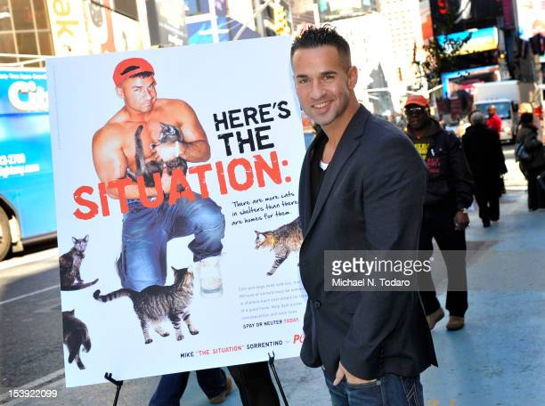 Mike 'The Situation' Sorrentino attends the unveiling of Mike 'The Situation' Sorrentino's PETA Ad Campaign in Times Square on October 11 2012 in New...