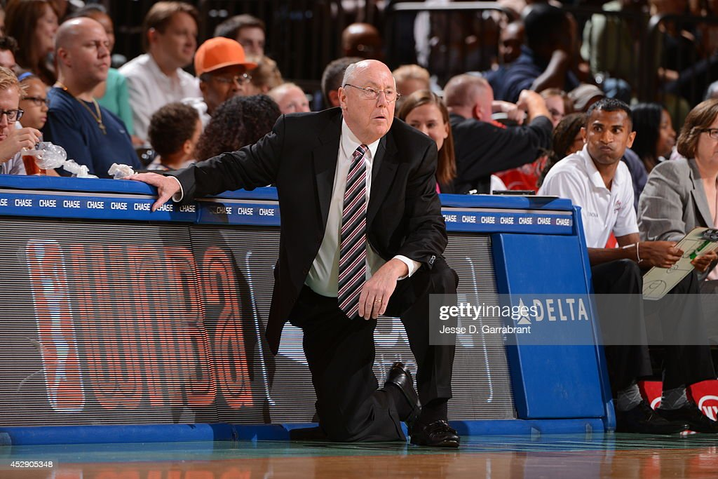 Mike Thibault Head coach of the Washington Mystics coaches against the New York Liberty during the game on July 29, 2014 at Madison Square Garden in New York, New York.