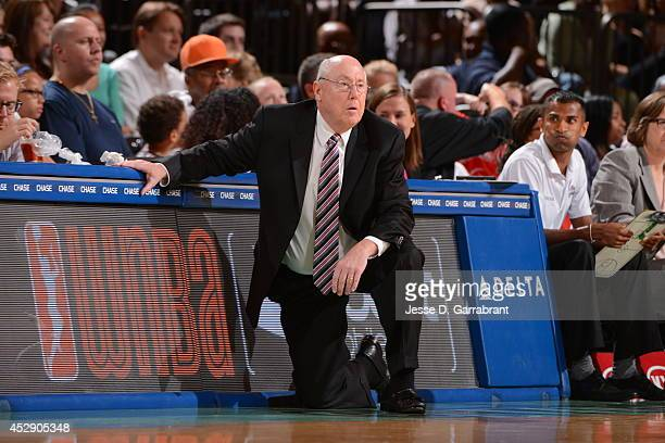 Mike Thibault Head coach of the Washington Mystics coaches against the New York Liberty during the game on July 29 2014 at Madison Square Garden in...