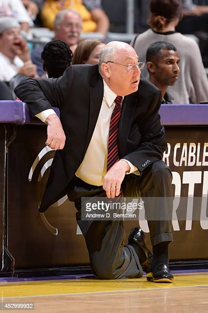 Mike Thibault Head Coach of the Washington Mystics looks on during the game against the Los Angeles Sparks at STAPLES Center on July 17 2014 in Los...