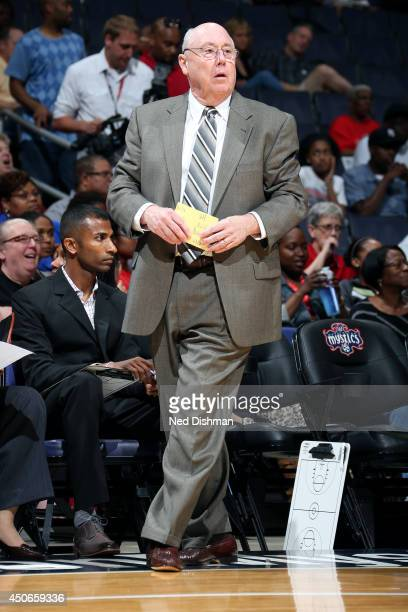 Mike Thibault Head Coach of the Washington Mystics stands on the sideline during a game against the Chicago Sky at the Verizon Center on June 13 2014...