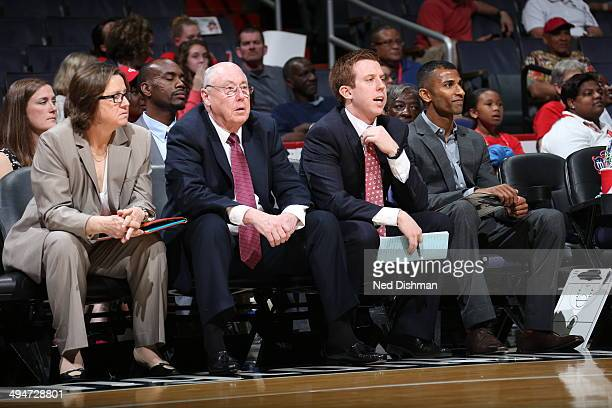 Mike Thibault of the Washington Mystics coaches against the Seattle Storm at the Verizon Center on May 24 2014 in Washington DC NOTE TO USER User...