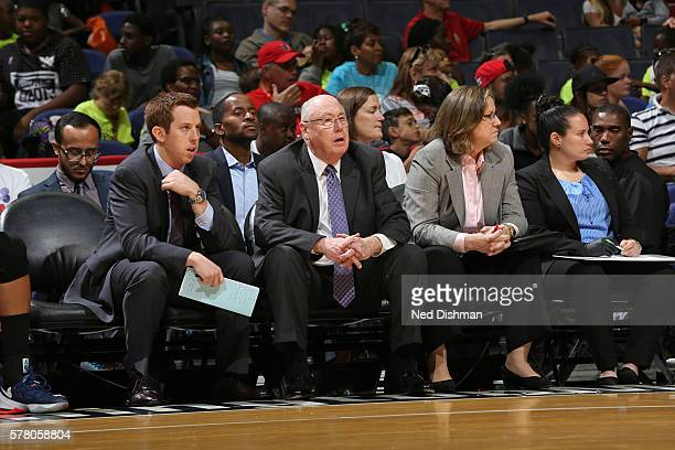 Mike Thibault of the Washington Mystics during the game against the New York Liberty on July 20 2016 at Verizon Center in Washington DC NOTE TO USER...