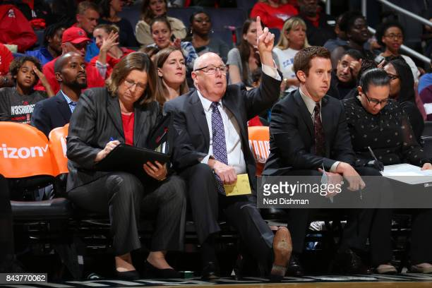 Mike Thibault of the Washington Mystics during the game against the Dallas Wings during Round One of the WNBA Playoffs on September 6 2017 at the...
