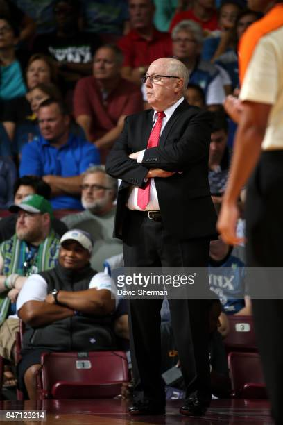 Mike Thibault of the Washington Mystics looks on during the game against the Minnesota Lynx in Game Two of the Semifinals during the 2017 WNBA...