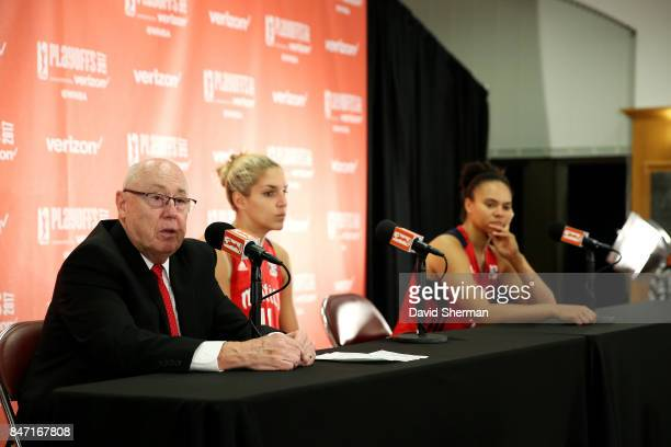 Mike Thibault of the Washington Mystics talks with the media after the game against the Minnesota Lynx in Game Two of the Semifinals during the 2017...