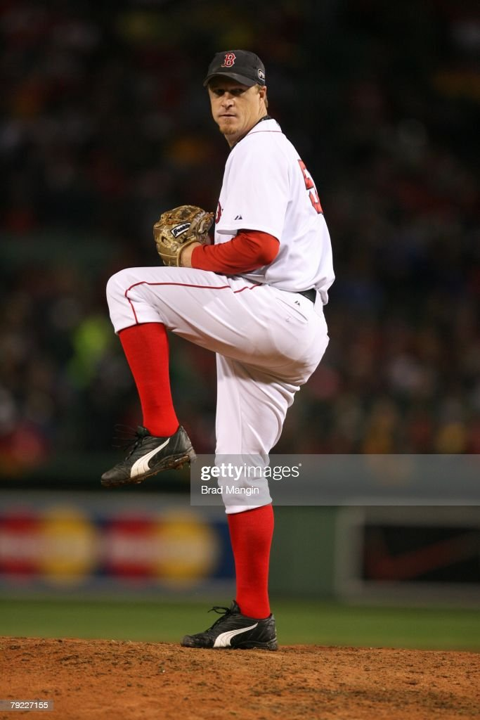 Mike Timlin of the Boston Red Sox pitches during game one of the World Series against the Colorado Rockies at Fenway Park in Boston, Massachusetts on October 24, 2007. The Red Sox defeated the Rockies 13-1.