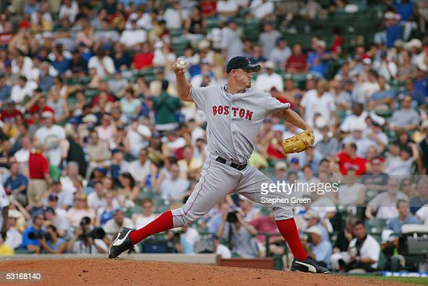 Mike Timlin of the Boston Red Sox pitches during the game against the Chicago Cubs at Wrigley Field on June 10 2005 in Chicago Illinois The Cubs...