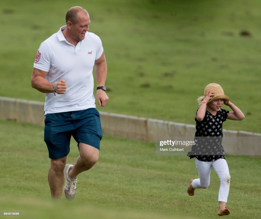 Mike Tindall and Isla Phillips at The Maserati Royal Polo Trophy match during The Gloucestershire Festival of Polo at Beaufort Polo Club on June 11, 2017 in Tetbury, England.