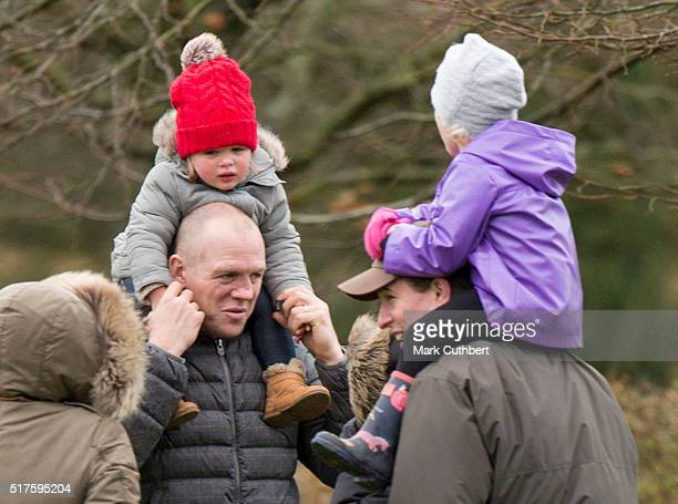 Mike Tindall and Mia Tindall with Peter Phillips and Isla Phillips attend Gatcombe Horse Trials at Gatcombe Park on March 26 2016 in Stroud England